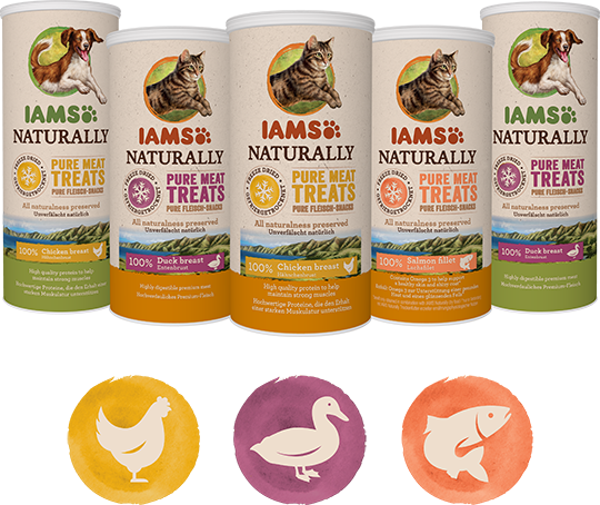IAMS Freeze Dried flavours: Chichen, Duck and Salmon