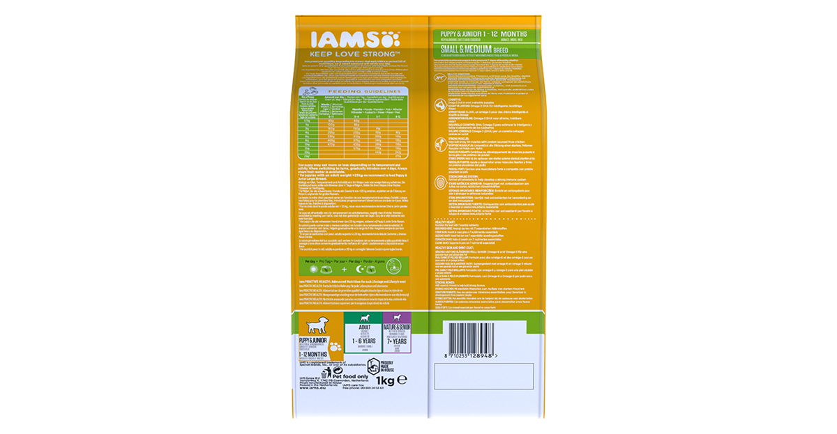 Iams proactive health puppy junior small and medium breed rich in
